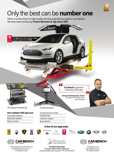 Precision Auto Works of LIC featured NYC Tesla expertsin Car Bench ad.