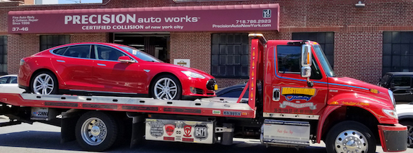 Precision Auto Works of LIC serves Tesla owners with Tesla Approved Collision Repair in New York City, Long Island and the Hamptons areas with our Free Emergency Collision Towing from Westhampton Beach, Water Mill, Sagaponack, North Haven, Amagansett, Sag Harbor, East Hampton, Southampton, Montauk to Manhattan.