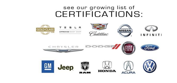 Precision Auto Works of LIC specializes in high quality repair and collision body work and is certified by Tesla Motors, Honda, Acura, Cadillac, Volkswagen, Ford, GM, Chrysler, Nissan, Infiniti, Jeep and Fiat.